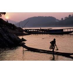 Pêche à l'épervier à Luang-Prabang au couchant