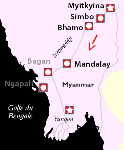 La navigation en birmanie de Myitkyina à Mandalay
