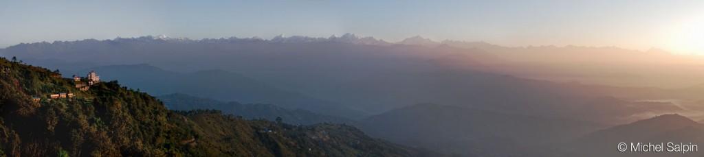 Panorama de Nagarkot au Népal au couchant